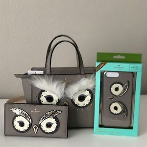 Kate Spade Owl Mini Hadlee,wallet and iPhone case